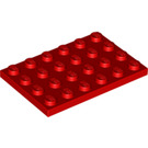 LEGO Red Plate 4 x 6 (3032)