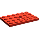 LEGO Red Plate 4 x 6 with Hole
