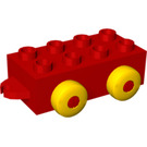 LEGO Red Quatro 2 x 4 Vehicle Base with Hitches and 4 Yellow Wheels (54106)