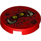 LEGO Red Round Tile 2 x 2 with Globlin Face with Large Teeth with Bottom Stud Holder (24398)