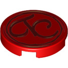 LEGO Red Round Tile 2 x 2 with TC script Decoration with Bottom Stud Holder (38996)