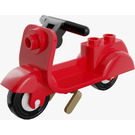 LEGO Red Scooter with Dark Tan Stand and Black Handlebars