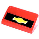 LEGO Red Slope 1 x 2 (31°) with Chevrolet Emblem Sticker