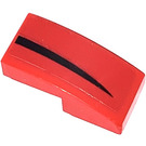 LEGO Red Slope 1 x 2 Curved with Black Stripe left side Sticker