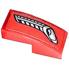 LEGO Red Slope 1 x 2 Curved with Silver Vents Left Side Sticker