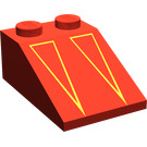 LEGO rouge Pente 2 x 3 (25°) avec Deux Red/Gold Triangles avec surface rugueuse