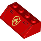 LEGO Red Slope 2 x 4 (45°) with Fire Logo with Smooth Surface (43143)