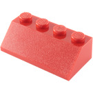 LEGO Red Slope 2 x 4 (45°) with Rough Surface (3037)