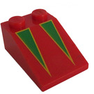LEGO Red Slope 25° (33) 2 x 3 with Yellow Bordered Green Triangles Decoration with Rough Surface