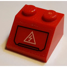 LEGO Red Slope 45° 2 x 2 with Electrical Hazard Sticker
