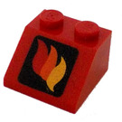 LEGO Red Slope 45° 2 x 2 with Red Orange and Yellow Flames Decoration