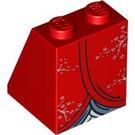 LEGO Red Slope 65° 2 x 2 x 2 with Kimono Pattern (95027)