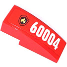 LEGO Red Slope Curved 3 x 1 with Sticker from Set 60004 - Left side