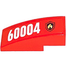 LEGO Red Slope Curved 3 x 1 with Sticker from Set 60004 - Right side