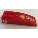 LEGO rouge Slope Curved 6 x 2 with Number 2 and Shell Logo on Top, New Vodafone Logo on Both Sides Sticker