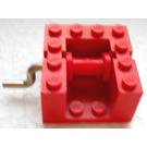 LEGO Red String Reel Winch 4 x 4 x 2 with Red Drum and Metal Handle