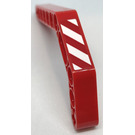 LEGO Red Technic Beam 3 x 3.8 x 7 Beam Bent 45 Double with Danger Stripes - Left Sticker