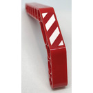 LEGO Red Technic Beam 3 x 3.8 x 7 Beam Bent 45 Double with Danger Stripes - Right Sticker