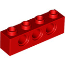 LEGO Red Technic Brick 1 x 4 with Holes (3701)