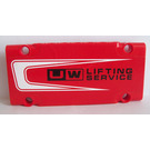 LEGO Red Technic Flat Panel 5 x 11 with UW Lifting Service Sticker