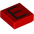LEGO Red Tile 1 x 1 with 'E' Decoration with Groove (13411)