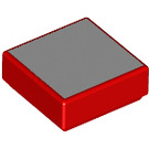 LEGO Red Tile 1 x 1 with Gray Square with Groove (25360)