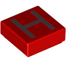 LEGO Red Tile 1 x 1 with 'H' Decoration with Groove (13416)