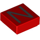 LEGO Red Tile 1 x 1 with Letter N Decoration with Groove (13422)