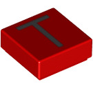LEGO Red Tile 1 x 1 with Letter T Decoration with Groove (13429)