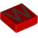LEGO Red Tile 1 x 1 with Letter W Decoration with Groove (13432)