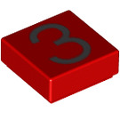 LEGO Red Tile 1 x 1 with Number 3 Decoration with Groove (13441)