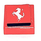LEGO Red Tile 1 x 1 with Silver Ferrari Logo Sticker with Groove