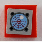 LEGO Red Tile 1 x 1 with Sonar Sticker with Groove