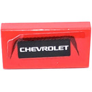 LEGO Red Tile 1 x 2 with Chevrolet Logo Sticker with Groove