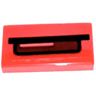 LEGO Red Tile 1 x 2 with Stop Light Sticker with Groove