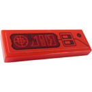 LEGO Red Tile 1 x 3 with Radar, Graph and Switches Sticker