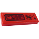 LEGO Red Tile 1 x 3 with Trident and Switches Sticker
