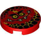 LEGO Red Tile 2 x 2 Round with Globlin Face with Small Teeth with Bottom Stud Holder (24399)