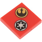 LEGO Red Tile 2 x 2 with Decoration with Groove (73953)