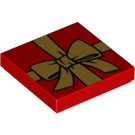 LEGO Red Tile 2 x 2 with Golden Bow, Gift Wrapping with Groove (14573)