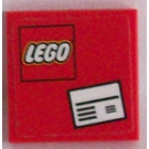 LEGO Red Tile 2 x 2 with White Letter and Lego Logo Sticker with Groove