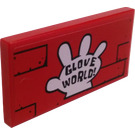LEGO Red Tile 2 x 4 with Glove World Sticker