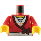 LEGO Red Torso with wrap top over white shirt with stars and heart necklace (76382 / 88585)