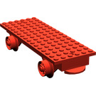 LEGO Red Train Base 6 x 16 Type 1 with Wheels (Complete)