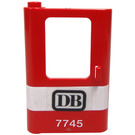 LEGO Red Train Door 1 x 4 x 5 Left with Black 'DB' And White '7745' Sticker