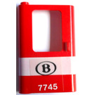 LEGO Red Train Door 1 x 4 x 5 Left with Sticker from Set 7745