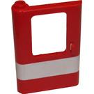LEGO Red Train Door 1 x 4 x 5 Left with White Stripe