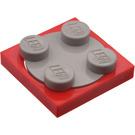 LEGO Red Turntable 2 x 2 with Medium Stone Gray Top (74340)