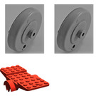 LEGO Red Vehicle Base 10 x 4 with Two Wheels Light Gray