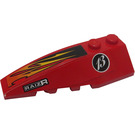 LEGO Red Wedge 2 x 6 Double Left with Orange and Black Flames, White 'RAIZR' and '13' Sticker